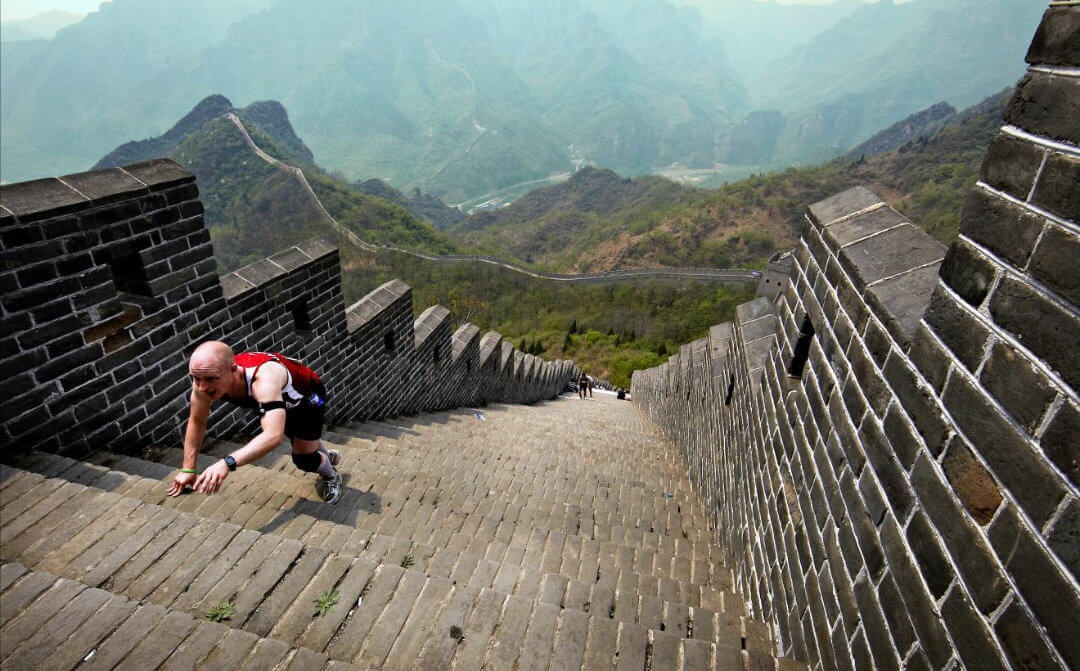 China Great Wall Marathon Crawling Man